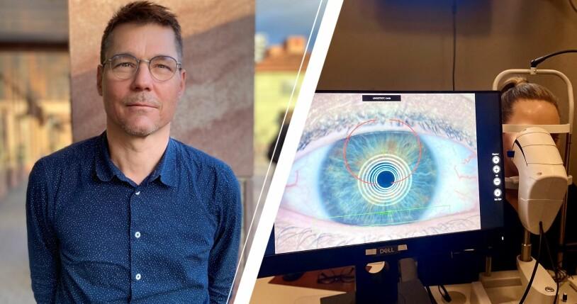 Optikern Johan Danielson, klient som gör tåranalys