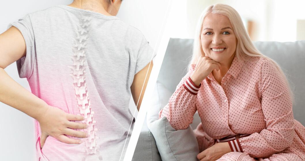 Kvinna som har osteoporos och överviktig kvinna som ler.
