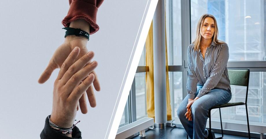 Hand som sträcker sig mot en annan hand och psykologen Anna Bennich