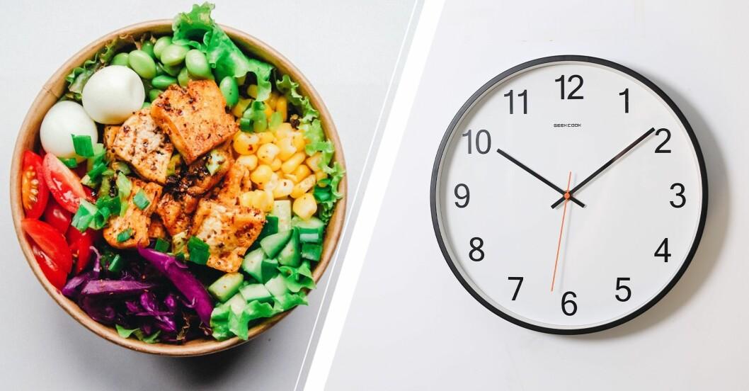 Hälsosam mat i skål och en väggklocka