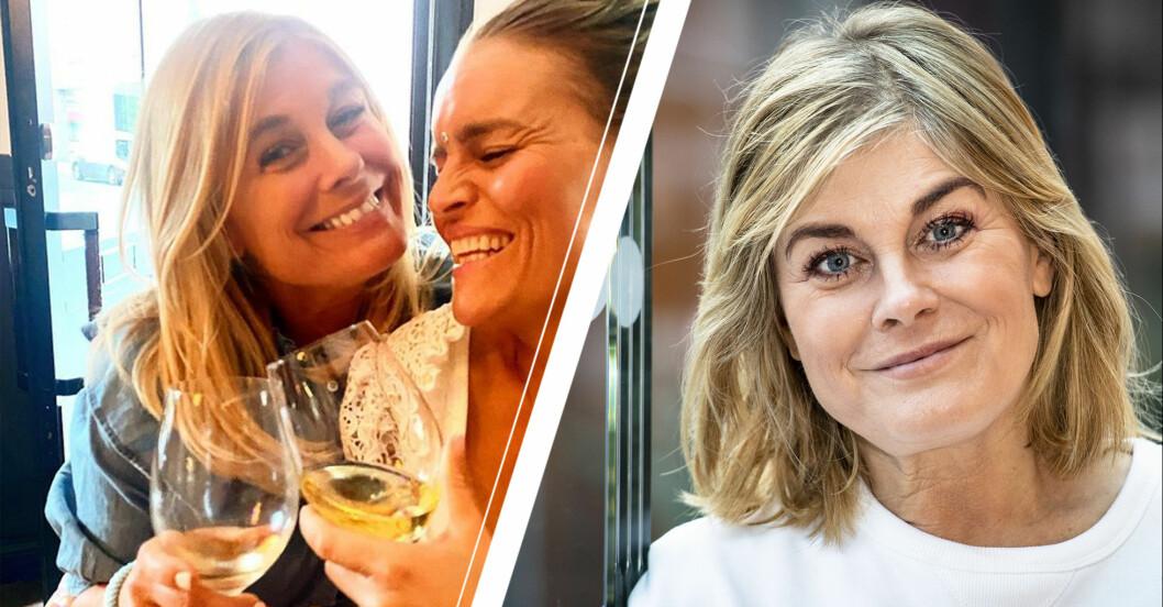 Vänster: Pernilla dricker vin. Höger: Pernilla tittar in i kameran.