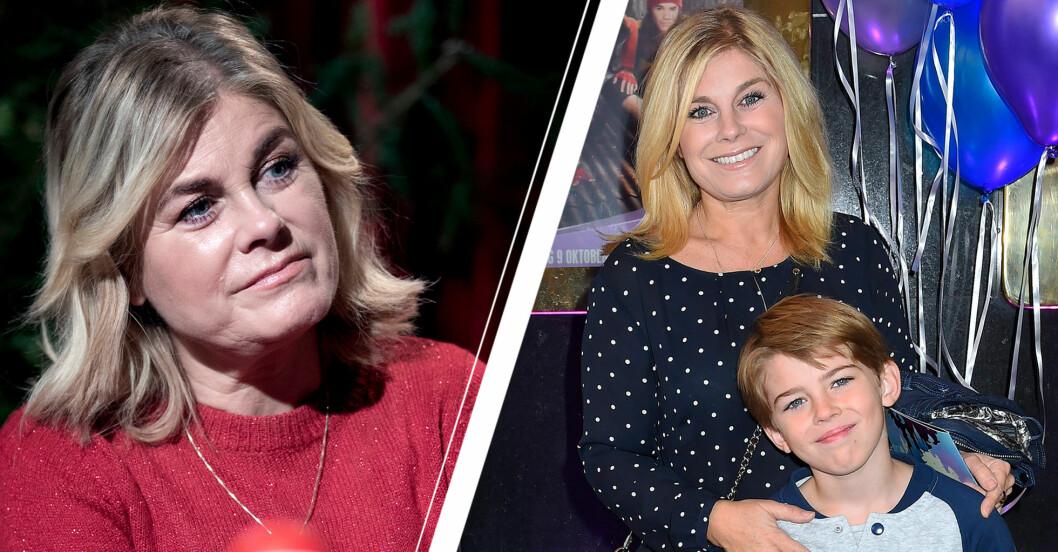 pernilla wahlgren med sonen theo på gala 2015
