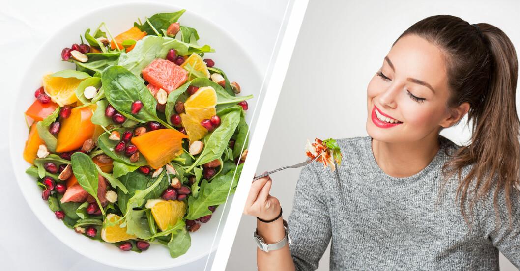 En tallrik med raw food och en kvinna som äter grönsaker.