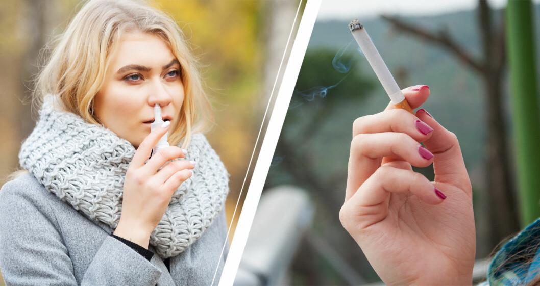 Kvinna med nässpray och en hand med en cigarett.