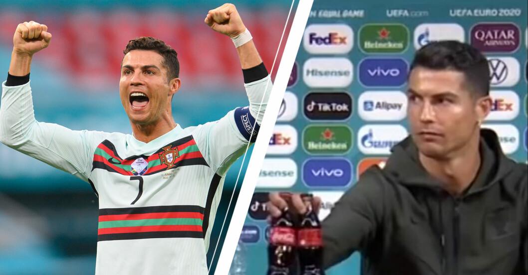 Vänster: Ronaldo på match. Höger: Ronaldo på presskonferensen.