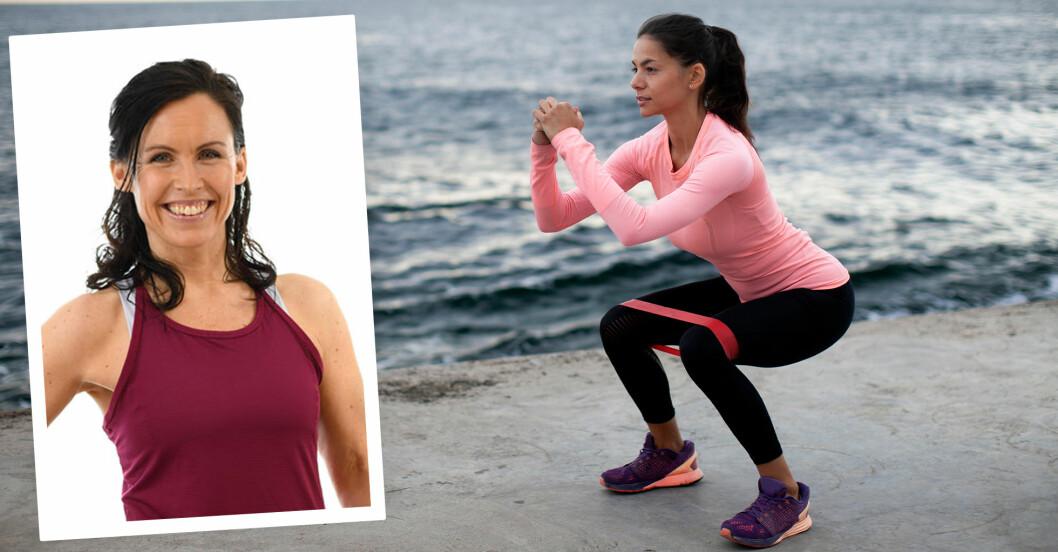 träningsexpert Sandra Hiort/kvinna gör rumpövningen squat