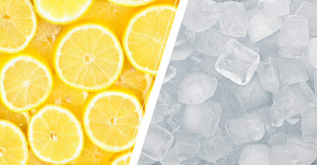 Citroner och isbitar.