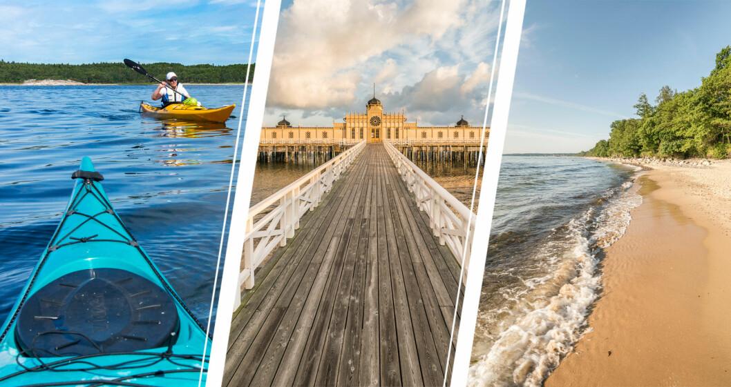 Paddla kajak, besök Varbergs kallbadhus eller en vacker strand i Skåne.