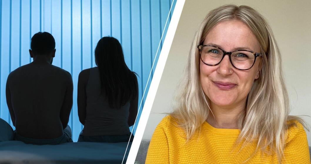 Hanna Byström, sexolog, och par med problem i sängen.