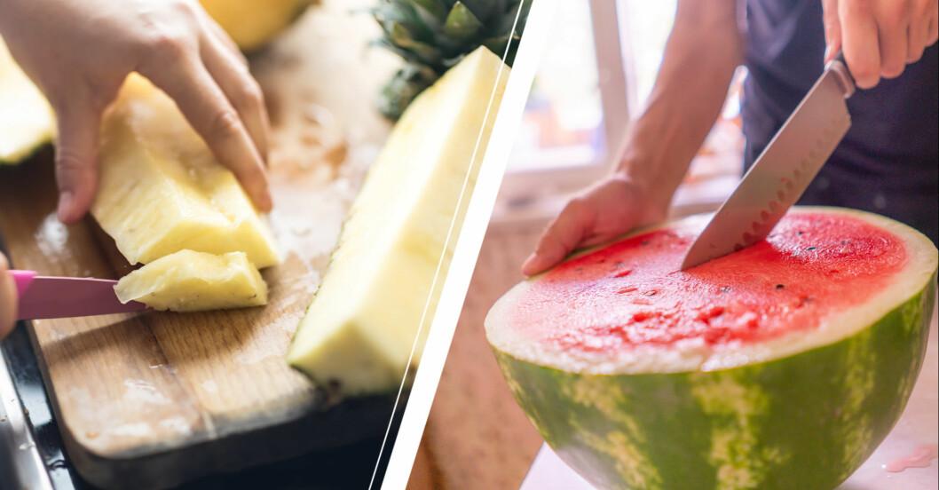Händer som skär ananas och vattenmelon.