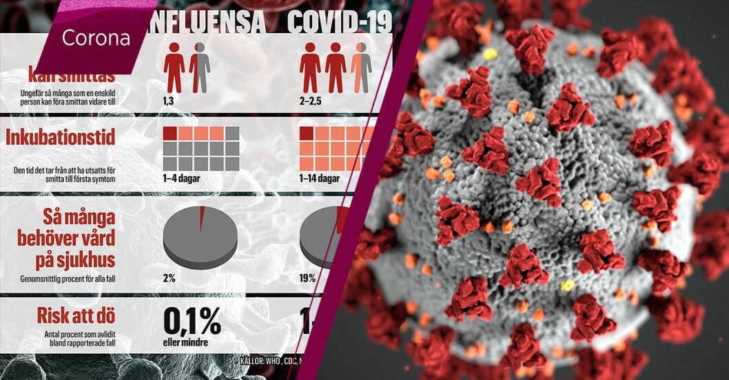 Skillnaden mellan corona och influensa