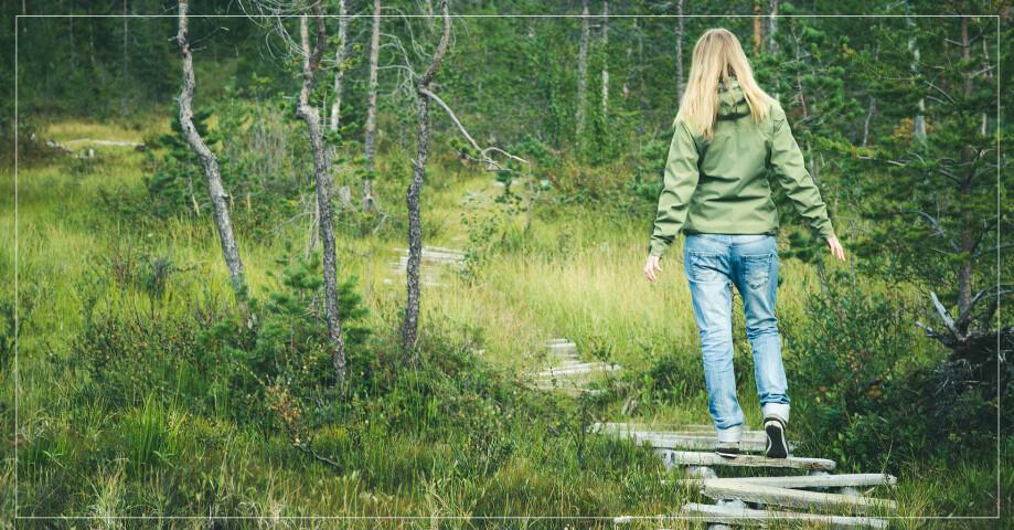 Ett barn som går i skogen.