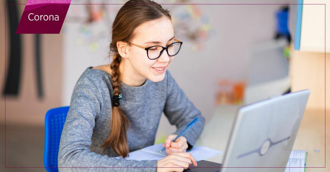 elev pluggar på distans via dator