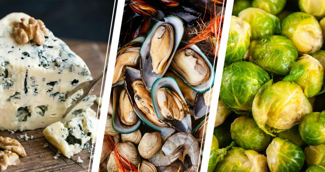 Blåmögelost, skaldjur och brysselkål.