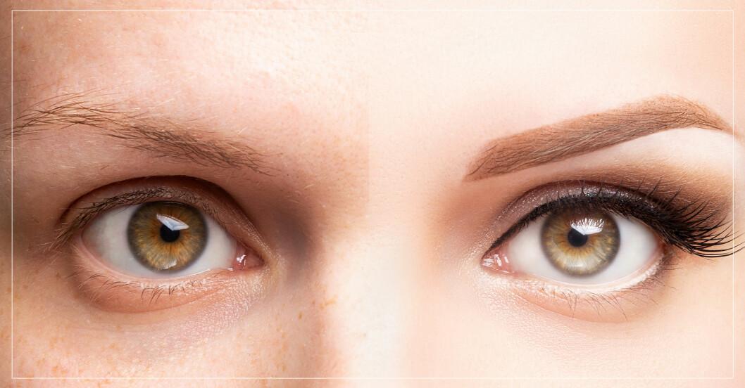 närbild på ögonbryn
