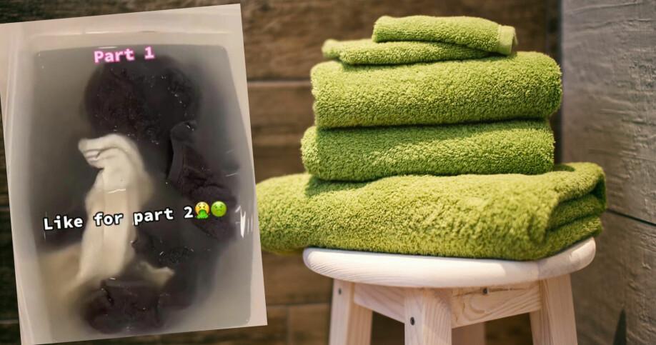 handdukar staplade på hög