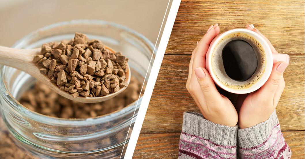 Snabbkaffe och bryggkaffe.