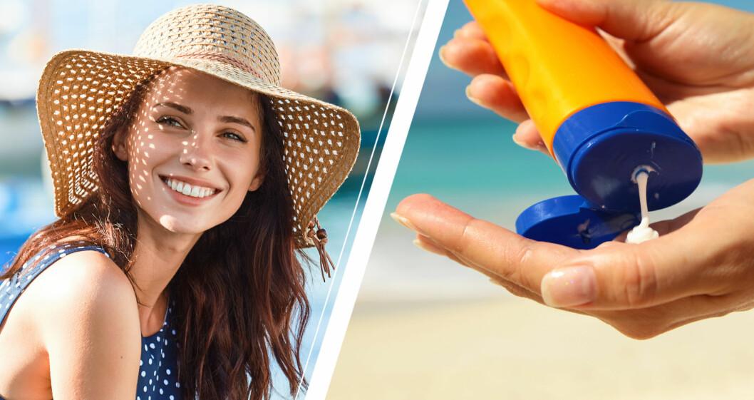 Solande kvinna och hand med solkräm.