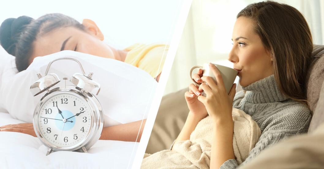 Kvinna som sovit till 11 och kvinna som dricker te i soffan.