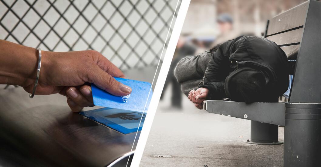 Vänster: Hand som håller i ett SL-kort. Höger: En person som ligger på en bänk.