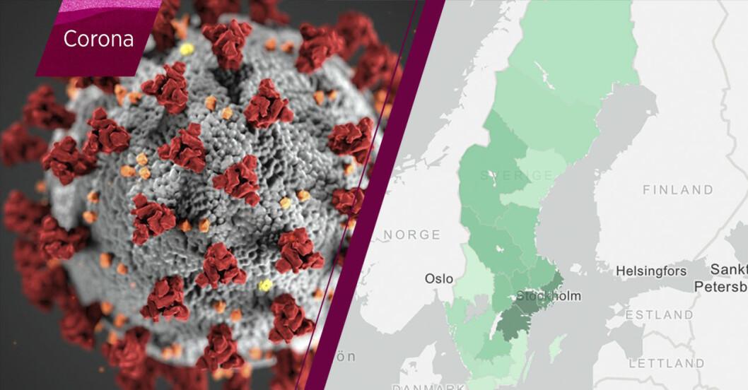 Karta över corona i Sverige.