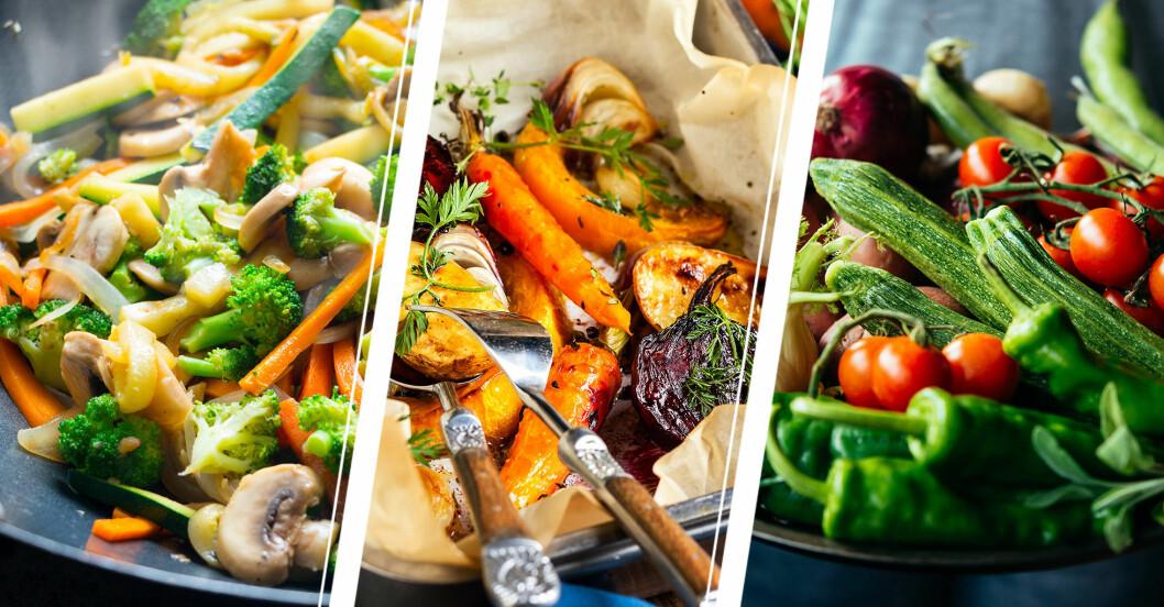 Stekta grönsaker, morötter och rödlök bakade i ugn och en stor tallrik råa grönsaker.