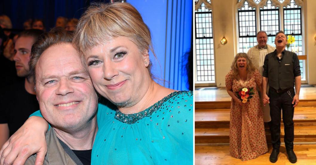Stina Wollter och sambon Micke Olsson har gift sig.
