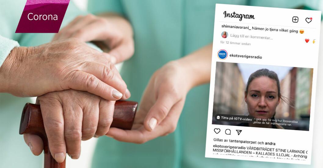 Skötare håller en gammal persones händer