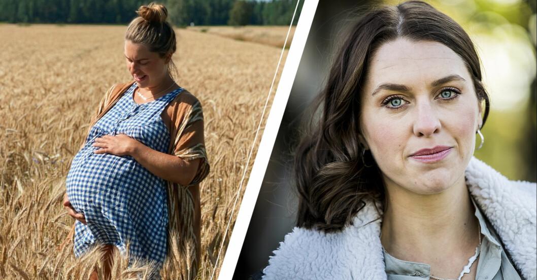Susanna Karlsson från Bonde söker fru visar upp gravidmagen.