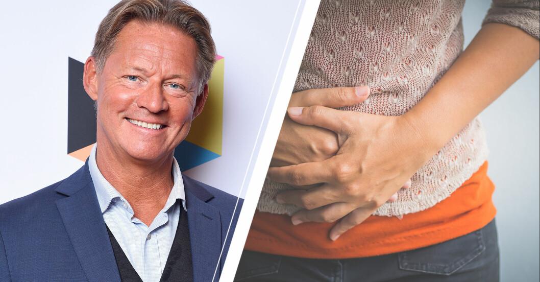 Doktor Mikael Sandström och kvinna som håller händerna på smärtande mage