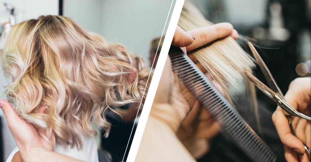 kvinna hos frisör