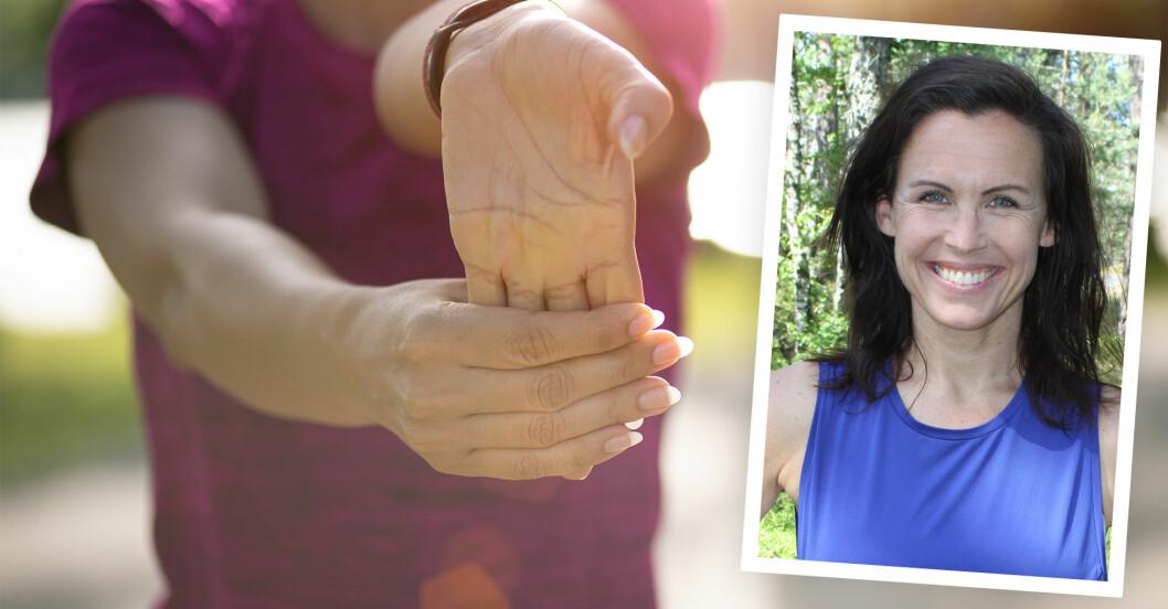 kvinna stretchar händer, en kroppsdel vi ofta glömmer att träna