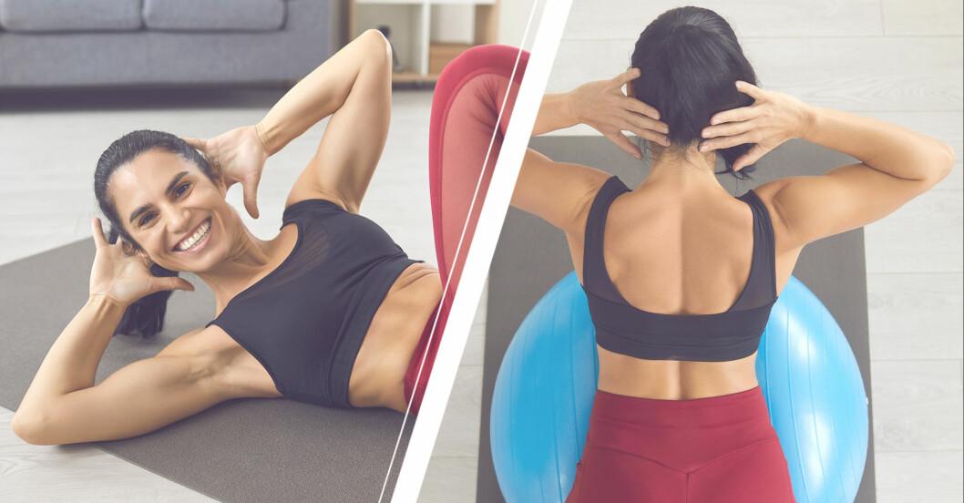 kvinna tränar övningar för att slippa värk i ländryggen