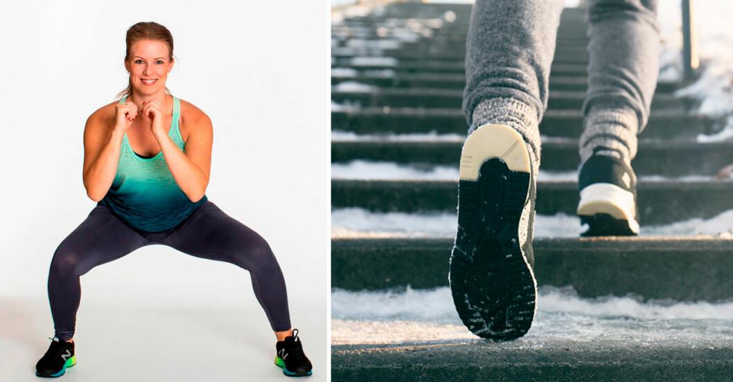 Sandra Friberg, träningsexpert och fötter som går i trappor