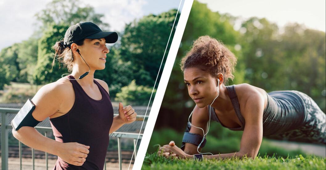 Kvinna som springer och kvinna som står i plankan.