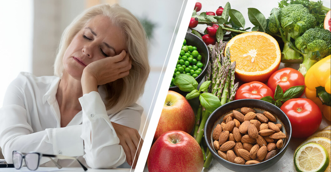 En trött kvinna och vitaminrika livsmedel.