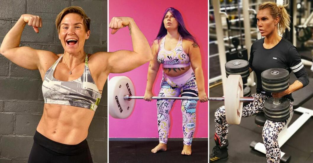 Lovisa Lofsan Sandström, Sara Fitnessfeministen Dahlström och boxaren Mikaela Laurén inspirerar med sina muskler och tunga lyft.
