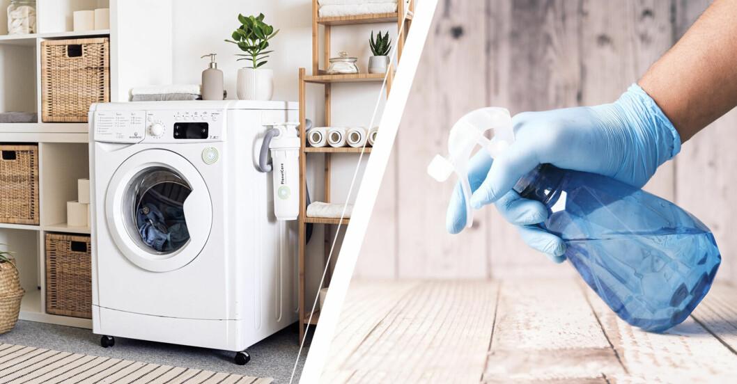 Tvättstuga och en person som håller i desinfektionsmedel
