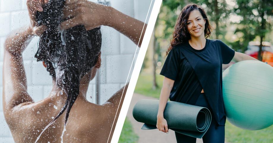 tvätta håret innan träning