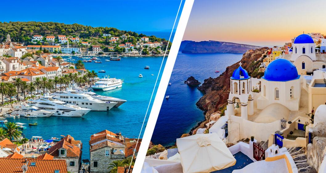 Kust i Kroatien och på Santorini.