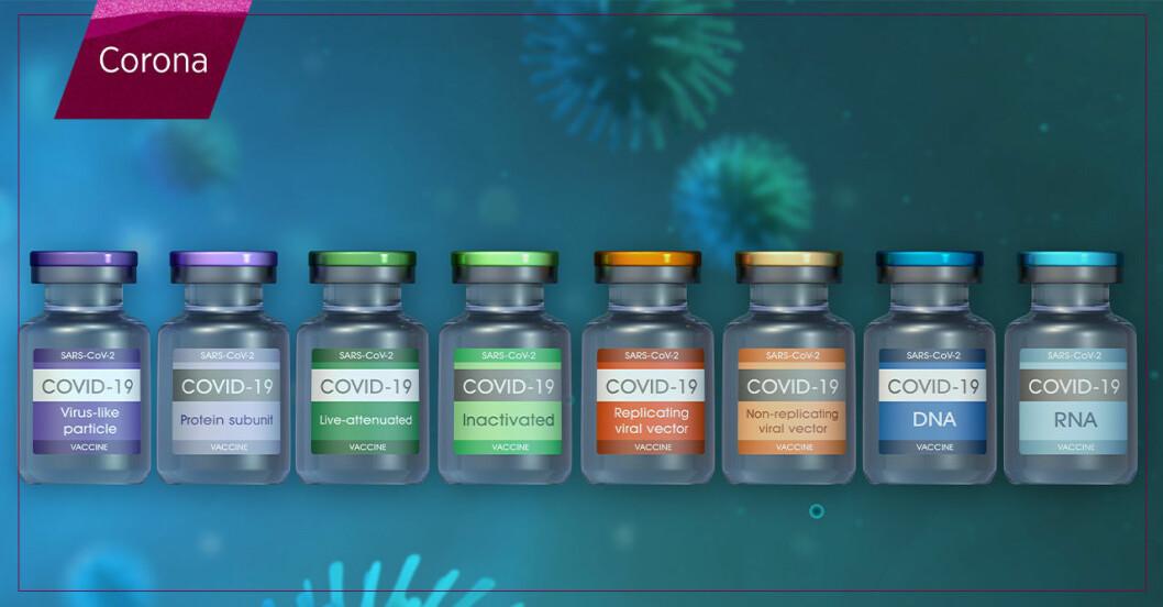 flaskor med olika typer av vaccin