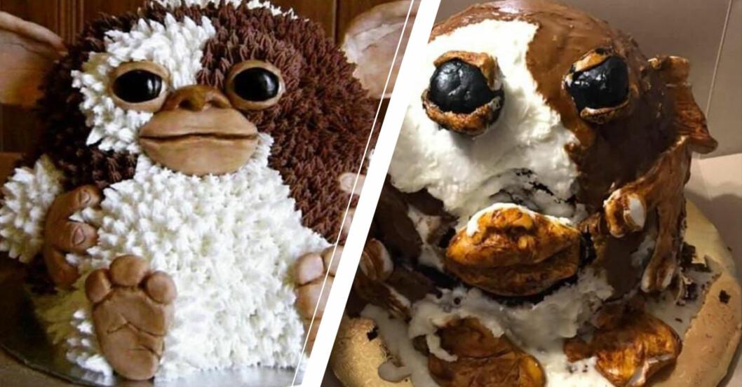Välgjord tårta som föreställer ett gulligt djur och en misslyckad tårta som försöker efterlikna den första.