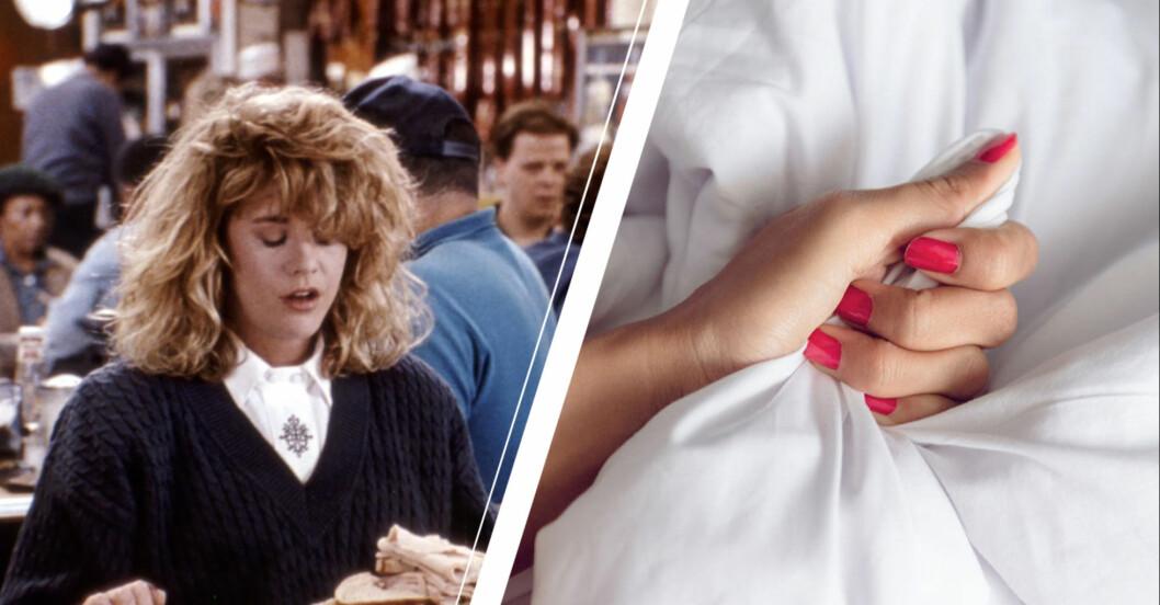 Orgasm i När Harry möte Sally och kvinna greppar lakan