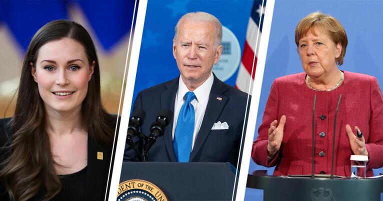 Sanna Marin, Joe Biden och Angela Merkel