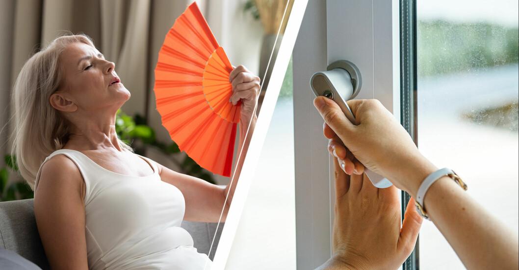 Kvinna som fläktar sig och stänger fönstret i värmen.