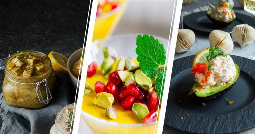 god vegansk mat till påskbordet med gul pannacotta, vegetarisk sill och avokado med skagenröra