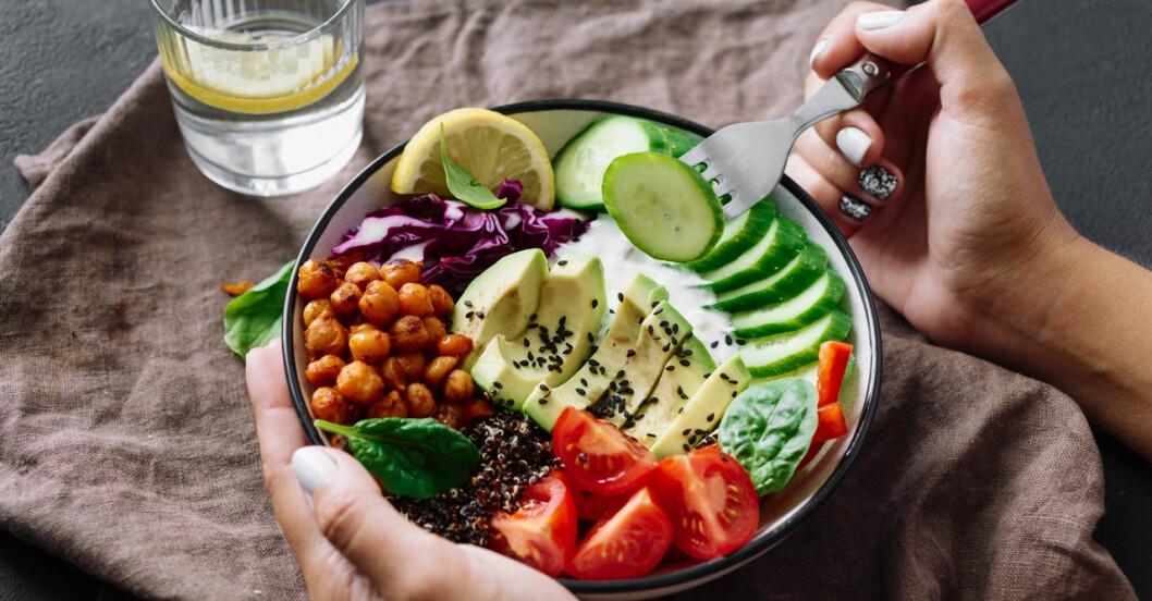 En tallrik med vegaetarisk kost som avokado och bönor