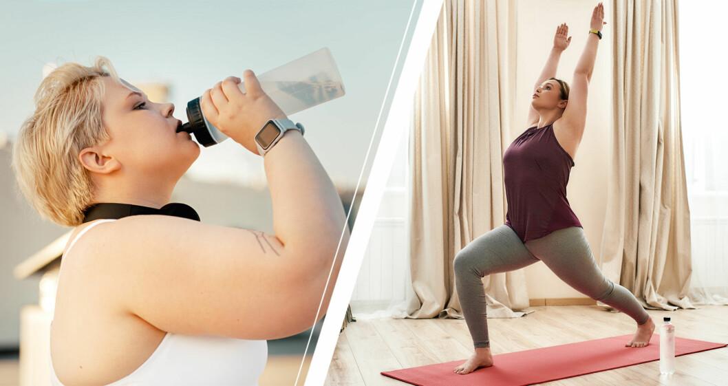 Kvinna som dricker ut vattenflask och kvinna som gör yoga.