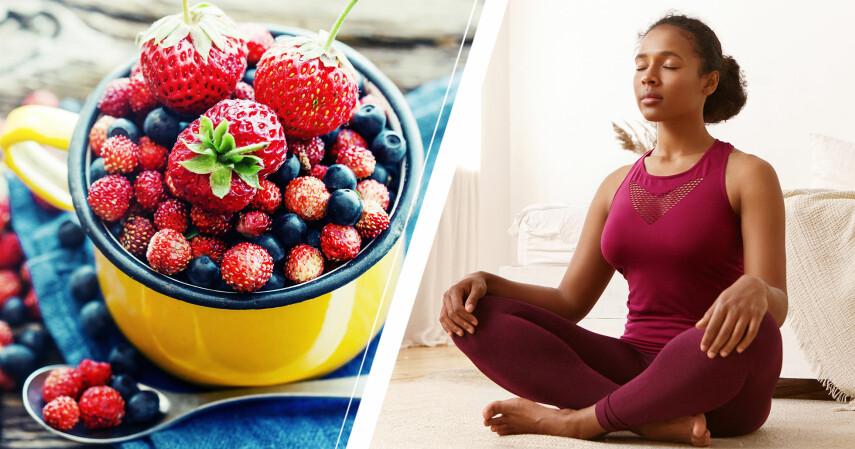 Kvinna som utför mindful eating