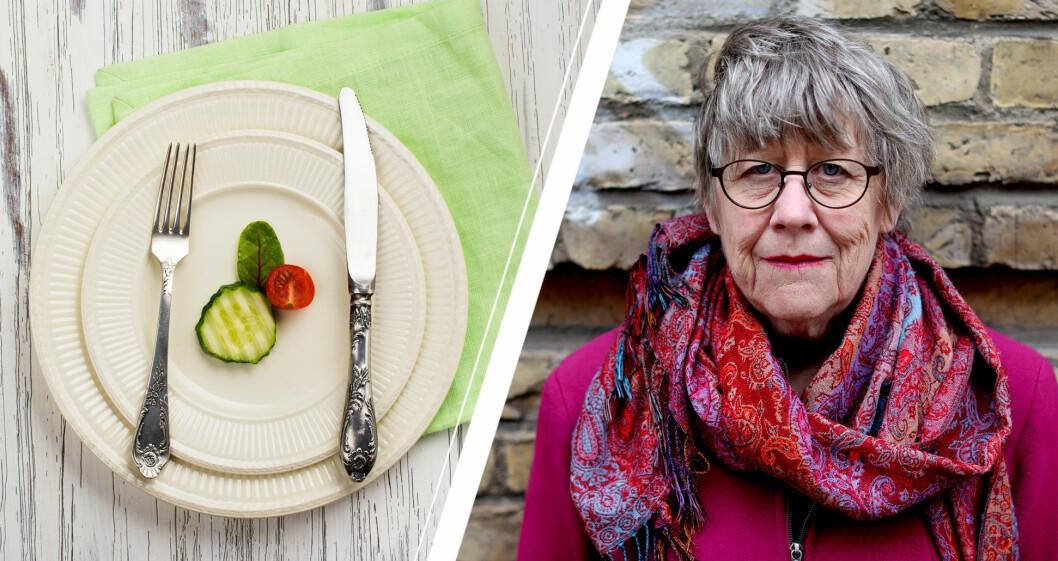 Agnes Wold och tallrik med gurkbit.